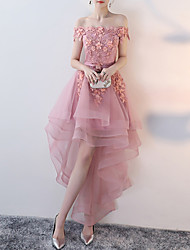 cheap -A-Line Floral Pink Wedding Guest Prom Dress Off Shoulder Short Sleeve Asymmetrical Tulle with Appliques 2020