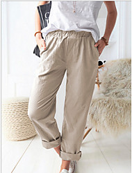 cheap -Women's Basic Loose Chinos Pants - Solid Colored Blue Khaki Green S / M / L