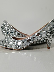 cheap -Women's Wedding Shoes 2020 Fall & Winter Cone Heel Pointed Toe Wedding Party & Evening Rhinestone PU Silver / Rainbow