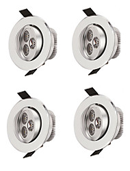 cheap -4pcs LED Downlight 3W Recessed Round LED Ceiling Lamp AC 220V 230V 240V Indoor Lighting Warm White Cold White