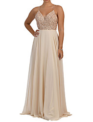 cheap -A-Line Spaghetti Strap Sweep / Brush Train Chiffon Bridesmaid Dress with Criss Cross / Pleats / Beading