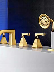 cheap -Bathtub Faucet - Contemporary Ti-PVD Tub And Shower Ceramic Valve Bath Shower Mixer Taps