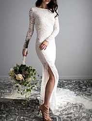 cheap -Mermaid / Trumpet Wedding Dresses Jewel Neck Sweep / Brush Train Lace Long Sleeve Sexy with Split Front 2021