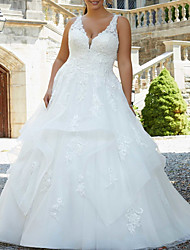 cheap -A-Line Wedding Dresses V Neck Watteau Train Lace Tulle Sleeveless Formal Sexy Plus Size with Ruffles Embroidery 2021