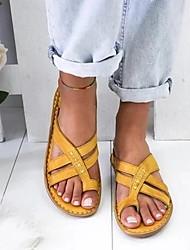 cheap -Women's Sandals Wedge Sandals Flat Sandals Bunion Sandals Summer Flat Heel Open Toe Daily PU White / Yellow / Brown