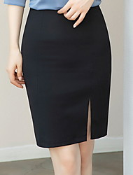 cheap -Women's Bodycon Skirts - Solid Colored Black Navy Blue S M L