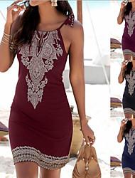cheap -Women's Sheath Dress Knee Length Dress - Sleeveless Floral Summer Elegant 2020 Wine Black Navy Blue S M L XL