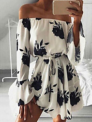 cheap -Women's A Line Dress - 3/4 Length Sleeve Print Summer Sexy Chinoiserie 2020 White Black Blue S M L XL