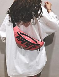 Недорогие -Жен. Молнии холст Поясная сумка Буквы Белый / Черный / Красный