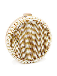 cheap -Women's Bags Polyester Alloy Evening Bag Crystals Tassel Color Block Wedding Bags Wedding Party Event / Party Gold Silver