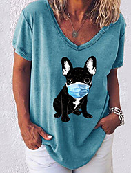 cheap -Women's T-shirt Animal V Neck Tops Loose Cotton Black Blue Army Green