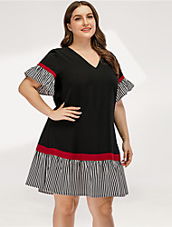 cheap -Women's A Line Dress - Short Sleeves Striped Solid Color Patchwork Summer Casual Elegant Daily Going out Flare Cuff Sleeve 2020 Black L XL XXL XXXL XXXXL