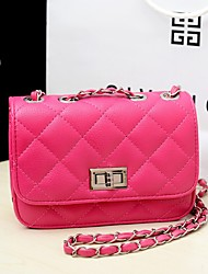 cheap -Women's Chain PU Crossbody Bag Leather Bag Solid Color Watermelon Pink / Black / Yellow