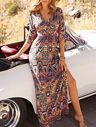 cheap -Women's Maxi A Line Dress - Half Sleeve Print Summer V Neck Elegant 2020 Brown M L XL XXL
