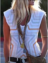 billige -Dame Geometrisk T-skjorte V-hals Daglig Sommer Blå Rød Gul Rosa S M L XL 2XL 3XL 4XL 5XL