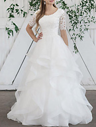 cheap -Ball Gown Wedding Dresses Jewel Neck Sweep / Brush Train Lace Organza Short Sleeve Vintage with Cascading Ruffles 2020
