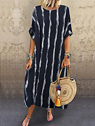 cheap -Women's Swing Dress Knee Length Dress - Short Sleeves Striped Spring Summer Casual Daily 2020 White Black One-Size