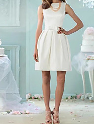 cheap -A-Line Wedding Dresses Jewel Neck Knee Length Cotton Sleeveless Vintage Little White Dress with Bow(s) 2020