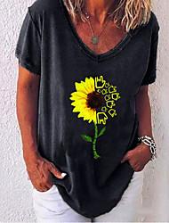 preiswerte -Damen Blumen T-shirt Alltag Weiß / Schwarz / Blau / Purpur / Rote / Grau