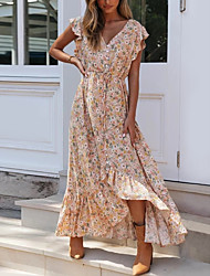 cheap -Women's Asymmetrical Sheath Dress - Sleeveless Floral Print Print Summer V Neck Boho Butterfly Sleeves 2020 Blushing Pink S M L XL