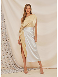 cheap -Women's Wrap Dress Maxi long Dress - Half Sleeve Color Block Solid Color Split Summer Work Elegant Party Vacation 2020 Beige S M L XL XXL