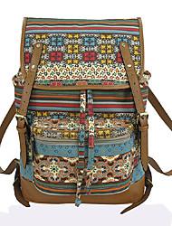 Недорогие -Регулируется Кожа PU холст Узоры / принт рюкзак Цветочный принт Повседневные Каштановый