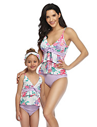 cheap -2 Piece Mommy and Me Active Sweet Floral Color Block Graphic Backless Ruffle Print Sleeveless Short Above Knee Swimwear Purple