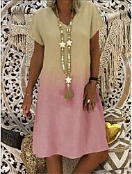 cheap -Women's A-Line Dress Knee Length Dress - Short Sleeves Color Gradient Summer V Neck Casual Daily Loose 2020 Purple Red Yellow Khaki S M L XL XXL XXXL XXXXL XXXXXL