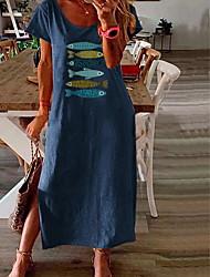 cheap -Women's Shift Dress Midi Dress - Short Sleeves Animal Summer V Neck Work Loose 2020 Blushing Pink Green Navy Blue L XL XXL XXXL XXXXL XXXXXL