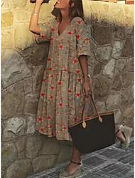 cheap -Women's A-Line Dress Short Mini Dress - Short Sleeves Floral Print Summer V Neck Casual 2020 Purple Khaki Light Green Gray Light Blue S M L XL XXL XXXL XXXXL XXXXXL