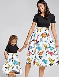 cheap -Mommy and Me Vintage Sweet Fantastic Beasts Geometric Color Block Animal Print Short Sleeve Knee-length Dress Black