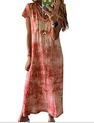 Недорогие -Жен. Платье прямого кроя Длинное платье - Короткие рукава Узоры тай-дай Лето На каждый день 2020 Синий Лиловый Красный Розовый Зеленый S M L XL