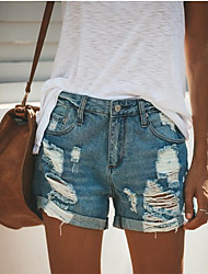 cheap -Women's Street chic Daily Loose Shorts Pants - Print Hole Outdoor Cotton Blue S / M / L