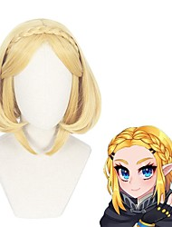 cheap -Cosplay Wig Princess Zelda The Legend of Zelda kinky Straight Middle Part With Bangs Wig Short Blonde Synthetic Hair 14 inch Women's Anime Cosplay Lovely Blonde