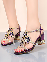 cheap -Women's Sandals 2020 Heel Sandals Summer Pumps Open Toe Casual Sweet Daily Party & Evening Rhinestone / Crystal / Sparkling Glitter Floral PU Purple / Gold / Blue