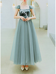 cheap -A-Line Elegant Green Prom Formal Evening Dress Scoop Neck Sleeveless Floor Length Organza with Appliques 2020