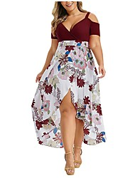 cheap -Women's Sun Flower Sheath Dress - Short Sleeves Print Summer Elegant Boho 2020 Wine Black Blue XL XXL XXXL XXXXL XXXXXL