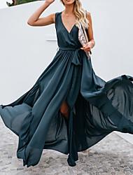 Недорогие -Жен. Макси Шифон Платье - Без рукавов Сплошной цвет Лето V-образный вырез Формальная Элегантный стиль Сетка Темно синий S M L XL