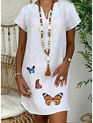 cheap -Women's A-Line Dress Knee Length Dress - Short Sleeves Print Summer Casual Chinoiserie 2020 White Yellow Khaki Green S M L XL XXL XXXL XXXXL XXXXXL