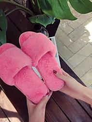 cheap -Women's Slippers & Flip-Flops Fuzzy Slippers Flat Heel Open Toe Daily Faux Fur Summer Black Dusty Rose Fuchsia