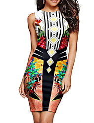 cheap -Women's Bodycon Dress - Sleeveless Geometric Summer Fall Casual Street chic Party Club Belt Not Included 2020 White Black Gray S M L XL XXL