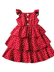 cheap -Toddler Girls' Active Cute Heart Solid Colored Backless Print Sleeveless Midi Dress Red