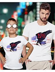 abordables -Papa et moi Actif Basique Graphique Drapeau Animal Manches Courtes Normal Tee-shirts Blanche