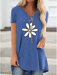 preiswerte -Damen Blumen T-shirt Alltag Blau / Khaki / Grau