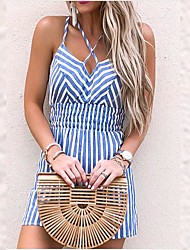 cheap -Women's Street chic Blue Romper Onesie, Striped Backless S M L