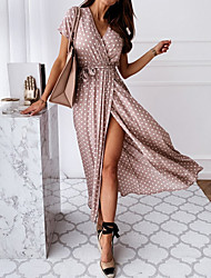 cheap -Women's Maxi Wrap Dress - Short Sleeves Polka Dot Print Summer V Neck Casual Sexy Vacation Tea Party 2020 Black Blue Blushing Pink Green S M L XL XXL XXXL