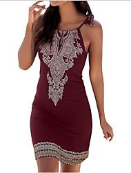 cheap -Women's Sheath Dress Knee Length Dress Sleeveless Floral Summer Hot Elegant vacation dresses 2021 Black Wine Navy Blue S M L XL