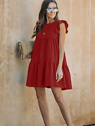 preiswerte -Damen A-Linie Kleid Minikleid - Ärmellos Volltonfarbe Sommer Street Schick 2020 Wein Grün S M L XL