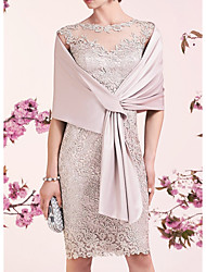 cheap -Sheath / Column Mother of the Bride Dress Elegant Illusion Neck Jewel Neck Knee Length Lace Satin Sleeveless with Embroidery 2020