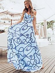 זול -בגדי ריקוד נשים שמלת כתפיות שמלת מקסי - ללא שרוולים דפוס קיץ יום יומי מומו 2020 כחול בהיר S M L XL